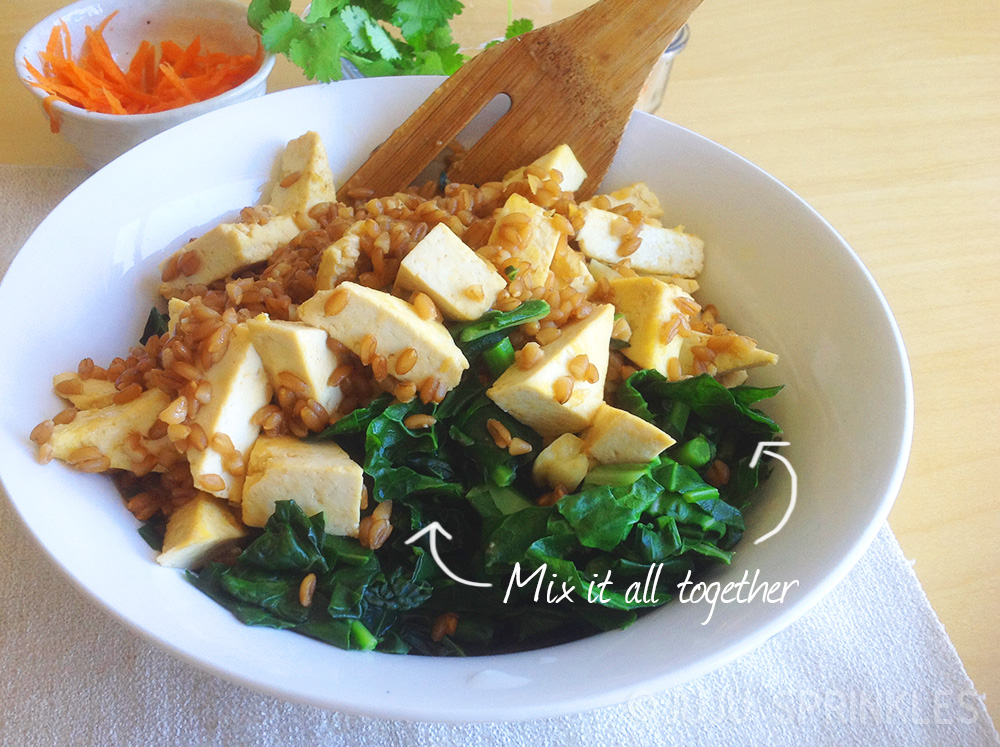 Asian tofu kale farro salad toss