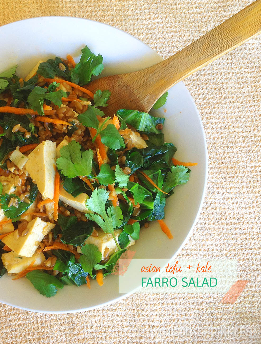 Asian tofu kale farro salad