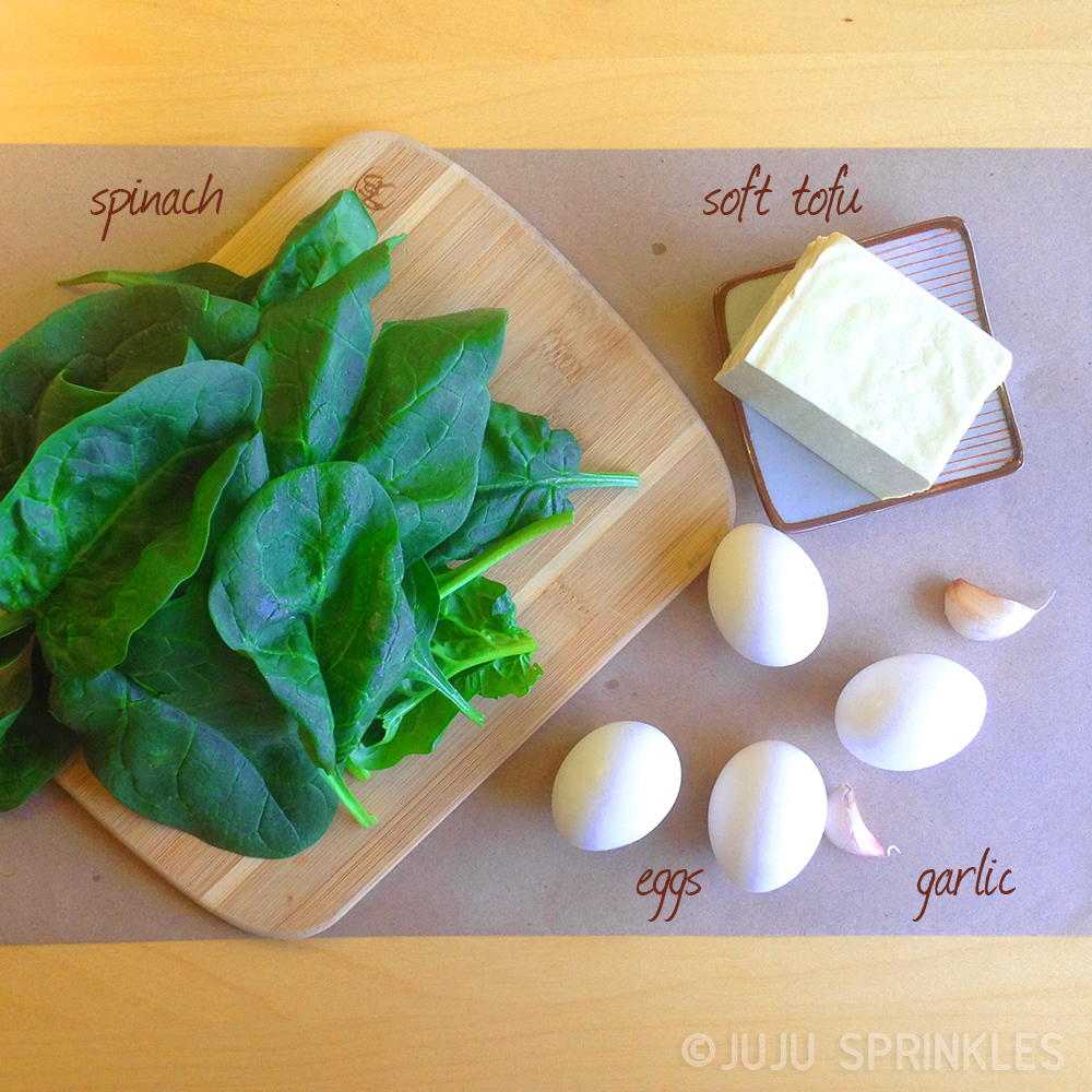 Crustless Tofu Spinach Quiche Ingredients2