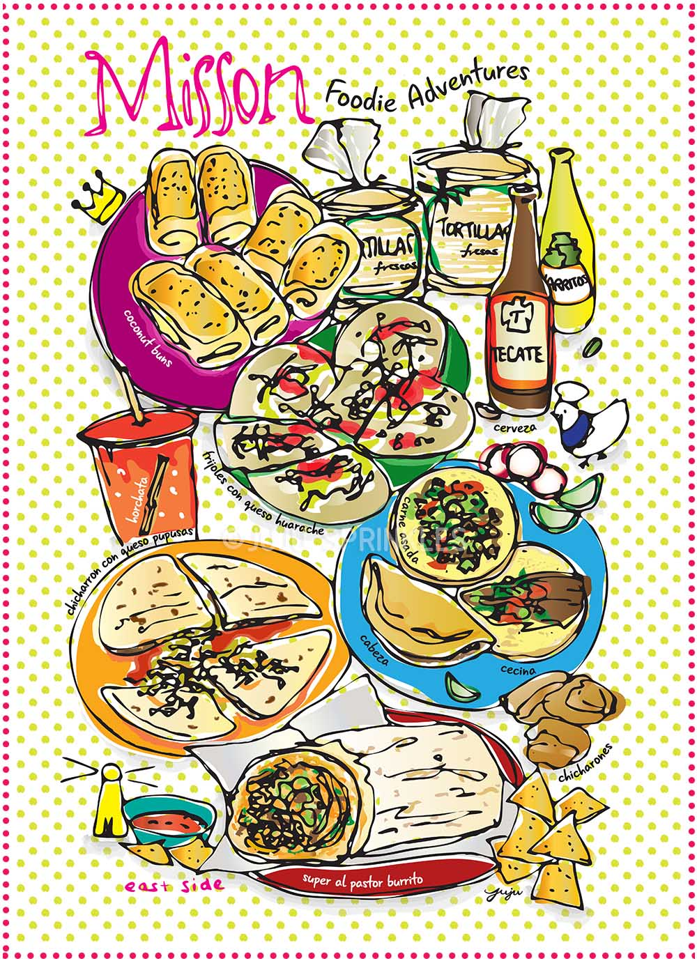 Mission Foodie Adventure Poster Dots