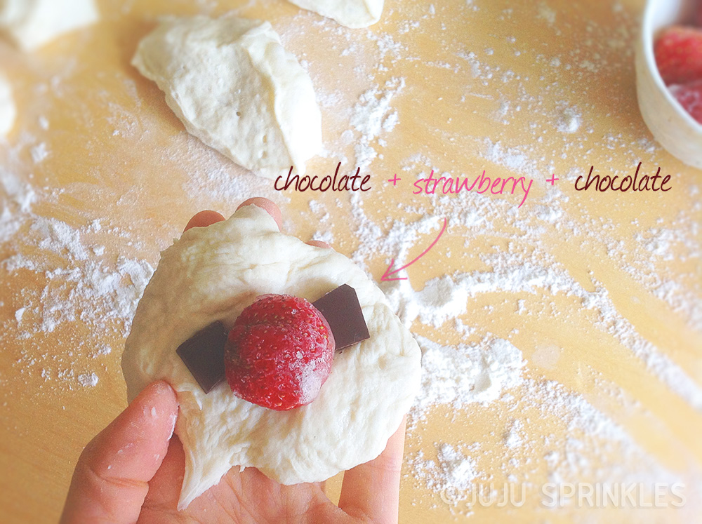 Strawberry chocolate pizza dough bunny filling