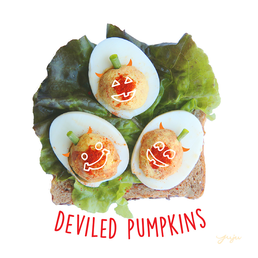 Juju Sprinkles Toast Deviled Pumpkin Eggs
